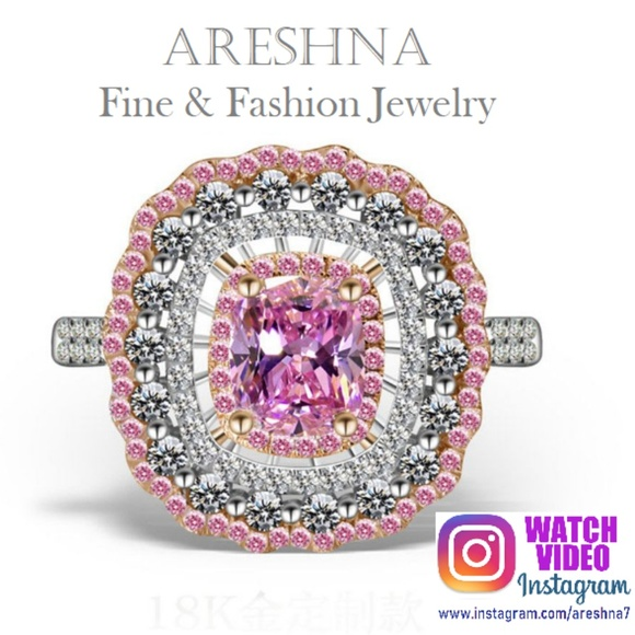 Areshna Jewelry - Pink Swarovski Crystals Luxury Cocktail Ring